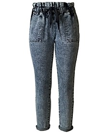 Juniors' Drawstring Paperbag-Waist Jeans