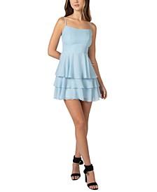 Juniors' Dot-Print A-Line Dress