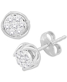 Diamond Round Cluster Stud Earrings (1/4 ct. t.w.) in 10k White Gold