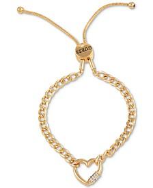 Pavé Heart Lock Chain-Link Slider Bracelet