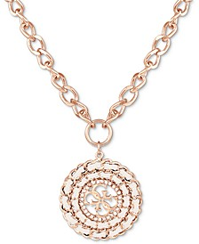"Rose Gold-Tone Woven Crystal Charm Pendant Necklace, 16"" + 2"" extender"