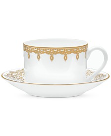 Waterford Lismore Lace Gold Boxed Teacup and Saucer