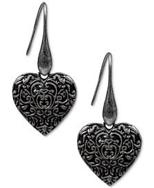 Silver-Tone Tooled Heart Drop Earrings