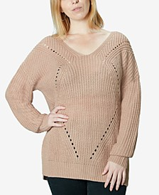 Juniors' Lace up Back Tunic Sweater