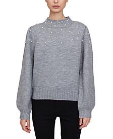 Imitation-Pearl-Embellished Sweater