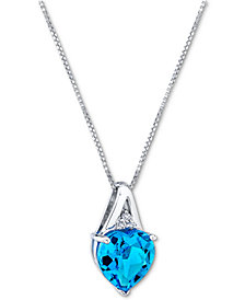 """Blue Topaz (3-5/8 ct. t.w.) & Diamond Accent Heart 18"""" Pendant Necklace in Sterling Silver"""