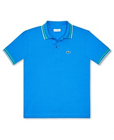 Big Boys Polo Shirt with Striped Collar