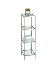 Free Standing 4 Tier Glass Shelf Tower