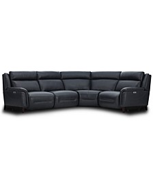 Lond 4-Pc. Leather Sectional with 2 Power Recliners, Created for Macy's
