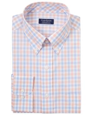 Men's Classic/Regular-Fit Performance Stretch Gingham Check Dress Shirt