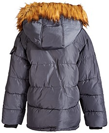 Big Boys Hooded Puffer Coat with Faux-Fur Trim