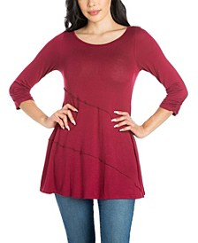 Women's Plus Ruched Sleeve Swing Tunic Top