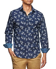 Men's Slim Fit Sketch Rose Print Long Sleeve Shirt and a Free Face Mask