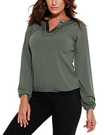 Women's Black Label Studded Blouson Sleeve Top
