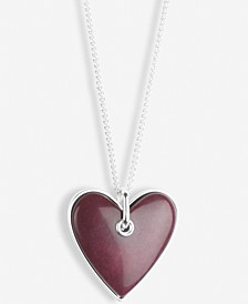 "Silver-Tone Semiprecious Gemstone Heart Pendant Necklace, 16"" + 2"" extender"