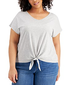 Plus Size Tie-Front T-Shirt, Created for Macy's