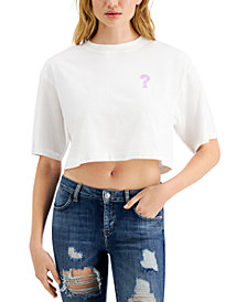 GUESS Spray Paint Logo Cropped T-Shirt