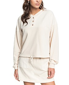 Juniors' Button-Trim Sweatshirt