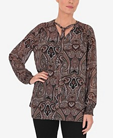 Plus Size Printed Paisley Tie Detail Blouse