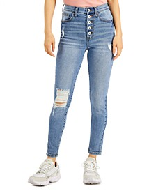 Juniors' Distressed High-Rise Button-Fly Skinny Jeans