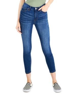 Juniors' Curvy Mid-Rise Distressed Skinny Jeans
