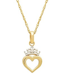 "Children's Princess Heart & Tiara 15"" Pendant Necklace in 14k Gold"