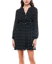 Juniors' Long-Sleeve Polka-Dot Dress
