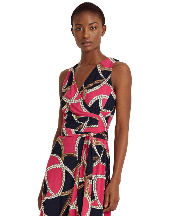 Lauren Ralph Lauren Petite Print Tie-Waist Jersey Dress & Reviews - Dresses - Petites - Macy's