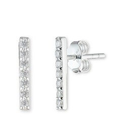 Sterling Silver and Cubic Zirconia Stud Earring