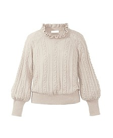 Women's Ruffle Neck Cable Sweater