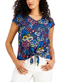 Printed Tie-Front Top, Created for Macy's