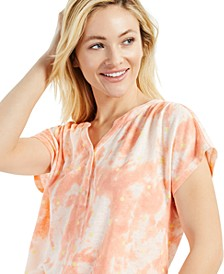 Tie-Dyed Henley Top, Created for Macy's