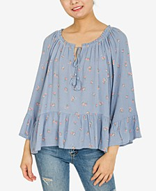 Juniors' Ruffled Peplum Top
