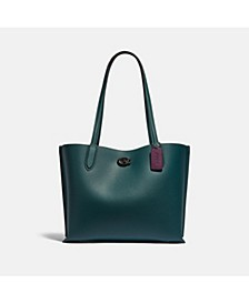 Polished Pebble Leather with Coated Canvas Signature Interior Willow Tote