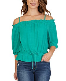 Juniors' Ruffled Off-The-Shoulder Top