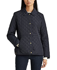 Petite Faux-Leather Trimmed Quilted Coat