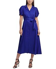Knot-Sleeve Midi Shirtdress