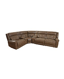 Rihaan 6-Pc. Fabric Sectional with 2 Power Recliners and 2 USB Consoles, Created for Macy's