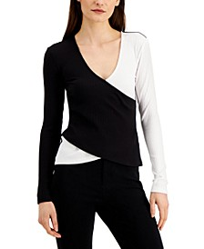 INC Plus Size Ribbed Colorblocked Top, Created for Macy's