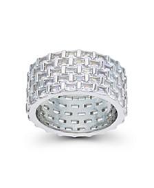 Cubic Zirconia Pave Baguette Cut 5-Row Eternity Ring
