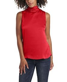 Women's Sleeveless Mock Neck Hammer Satin Blouse
