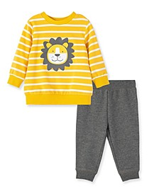Baby Boys Lion 2 Piece Sweatshirt Set