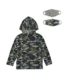 Little Boys Long Sleeve Camo Print Hoodie with Matching Face Mask