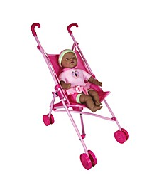 """Lissi Dolls Umbrella Stroller Set with 16"""" African American Baby Doll"""