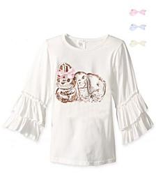 Big Girls Bunny Graphic Ruffle Top with Hair Bow Clips