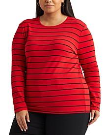 Plus-Size Striped Cotton-Blend Top