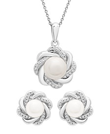 Cultured Freshwater Pearl (6-7mm) and Diamond (1/20 ct. t.w.) Box Set (Pendant & Earrings) in Sterling Silver