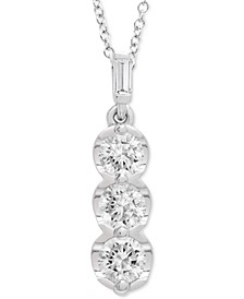 "Diamond Three Stone 20"" Pendant Necklace (3/4 ct. t.w.) in Platinum, Created for Macy's"