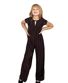 Big Girls Lurex Rib Knit Jumpsuit with Ruffle Sleeve