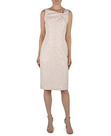 Asymmetrical Knot-Neck Jacquard Dress